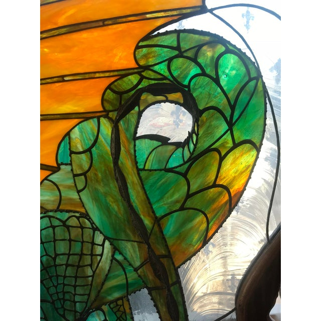Dragon Stained Glass Panel Artist Signed With Wood Frame For Sale - Image 9 of 11