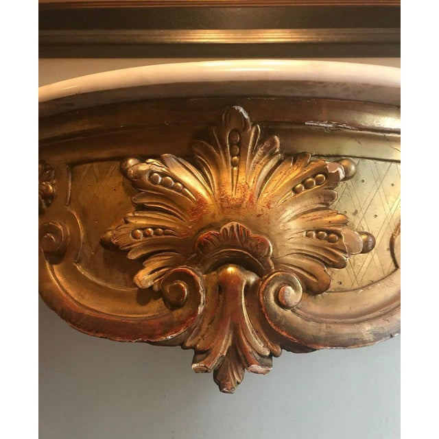 19th Century Louis XV Style Carved and Gilded Marble-Top Console For Sale In New York - Image 6 of 11