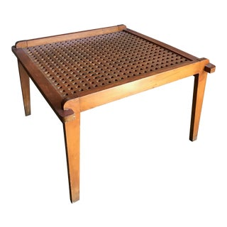 Geometric Cutout Wooden Coffee Table For Sale
