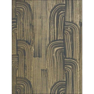 Groundworks Crescent Wallpaper in Ebony/Gold For Sale