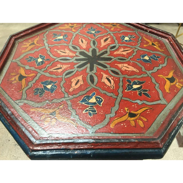 Pair of Hand-Painted Moroccan Pedestal Octagonal Shape Table With Moorish Arches For Sale In Los Angeles - Image 6 of 13