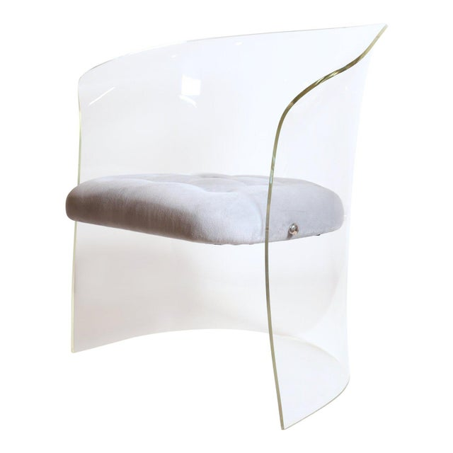 Silver Vladimir Kagan 1960s Formed Lucite Chair With Tufted Seat For Sale - Image 8 of 8