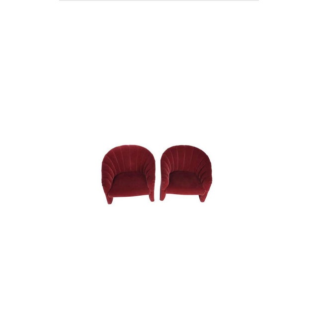 Late 20th Century Red Mohair Barrel Back Lounge Chairs, 1970 - a Pair For Sale - Image 5 of 9