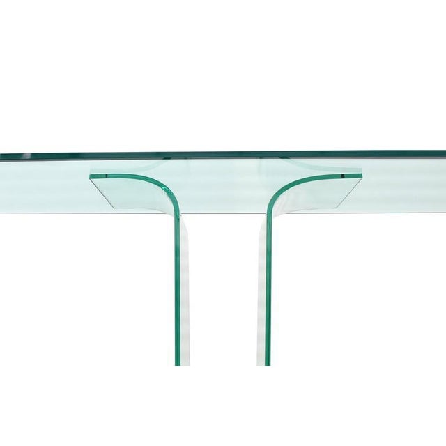 Italian Mid Century Modern Large Bent Glass Console Sofa Table For Sale - Image 4 of 9