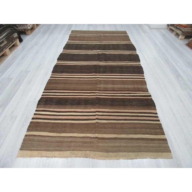 Islamic Neutral Striped Turkish Kilim Rug - 5′2″ × 11′6″ For Sale - Image 3 of 6