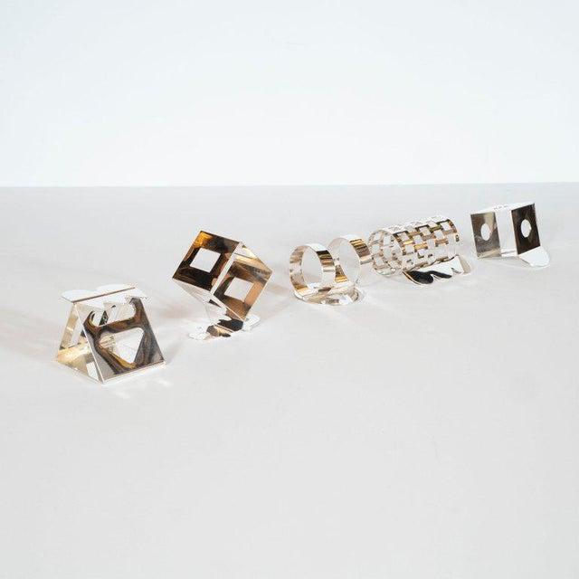 Memphis Modernist Memphis Silverplate Napkin Rings by Nathalie Du Pasquier for Bodum - 11 Pc. For Sale - Image 3 of 11