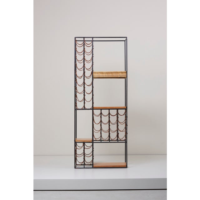 Tan Wrought Iron Wine Rack by Arthur Umanoff for Raymor , Us, 1950s For Sale - Image 8 of 8