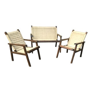 Vintage Wood and Straw Chairs and Settee For Sale