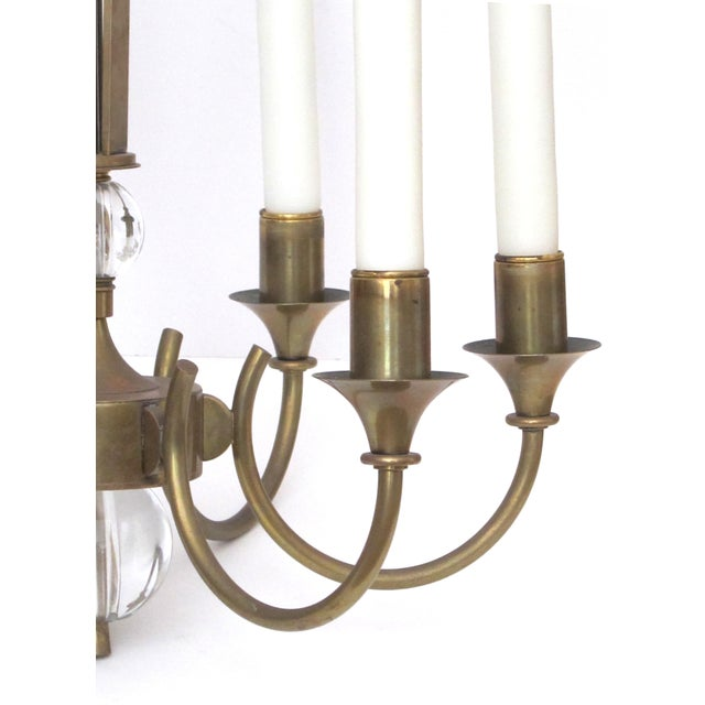 French A Good Quality and Stylish French Mid-Century Brass 6-Arm Chandelier Fitted With Glass Orbs For Sale - Image 3 of 5