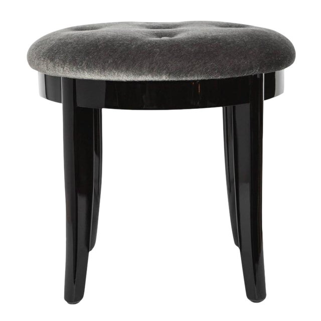 Elegant Art Deco Stool in Black Lacquer and Grey Mohair For Sale