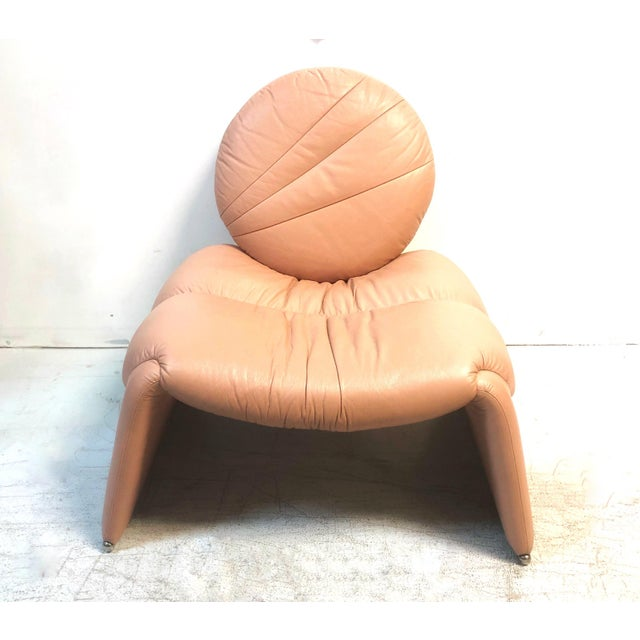 1980s Postmodern Pink Leather Lounge Chair, 1980s For Sale - Image 5 of 8