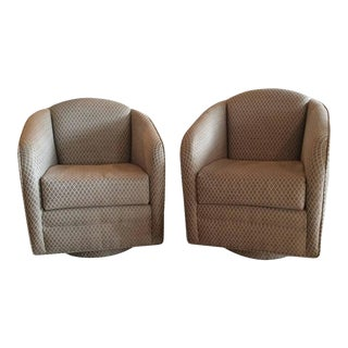 Swivel Platform Hollywood Regency Club Chairs - A Pair For Sale