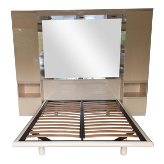 Ello Vintage Mirrored Queen Platform Bed Unit