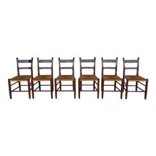 Set of 6 Quality Cherry Thumb Back Rush Bottom Side Chairs