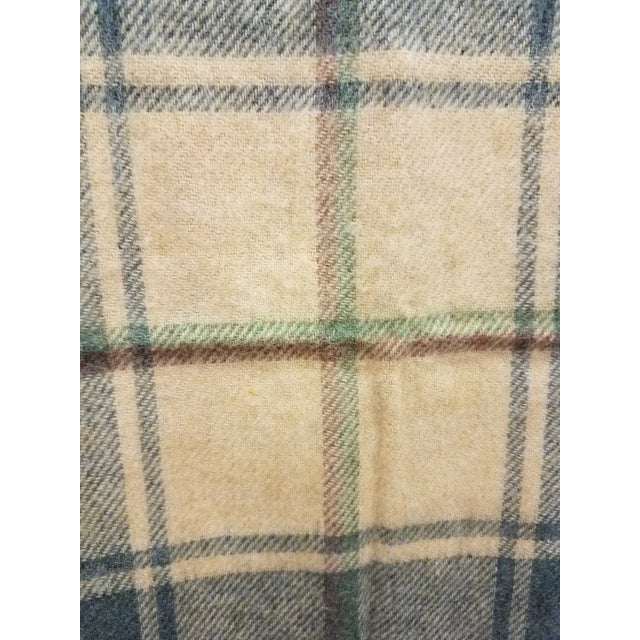 Merino Wool Throw Light Soft Beige Grey Green Red Plaid - Made in England For Sale - Image 12 of 13