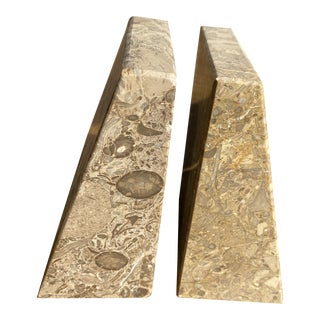 1960s Vintage Fossilized Marble Book Ends- A Pair For Sale