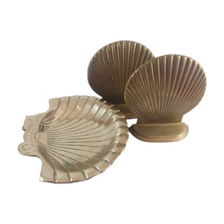 Brass Shell Bookends & Seahorse Catchall