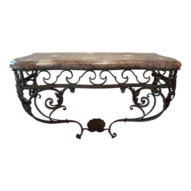 French Regency Wrought Iron & Marble Console Table For Sale