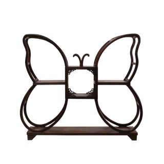 Chinese Yellowish Brown Wood Butterfly Shape Small Curio Display Stand For Sale