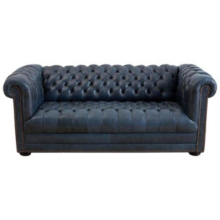 English Tufted Navy Blue Chesterfield Sofa For Sale