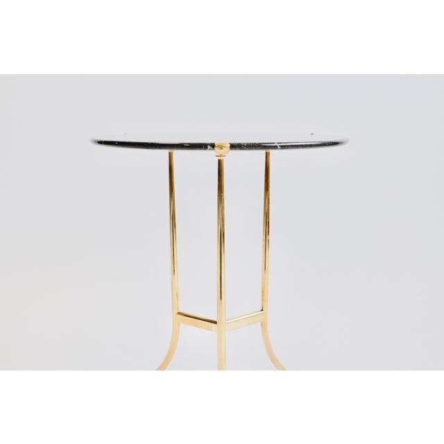 1970s Cedric Hartman Brass and Marble Side Table For Sale - Image 5 of 9