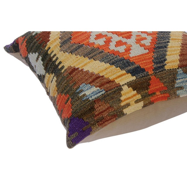 "Asian Chung Green/Rust Hand-Woven Kilim Throw Pillow(18""x18"") For Sale - Image 3 of 6"