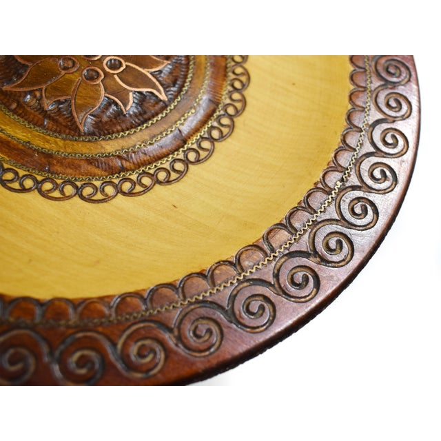 Mid 20th Century Vintage Hand Carved Wooden Plate with Inlaid Brass and Copper For Sale - Image 5 of 6