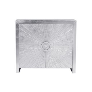 Transitional Pasargad Firenze 2-Door Nickel Plated Cabinet For Sale