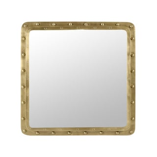 Industrial Brass Rivet Square Mirror For Sale