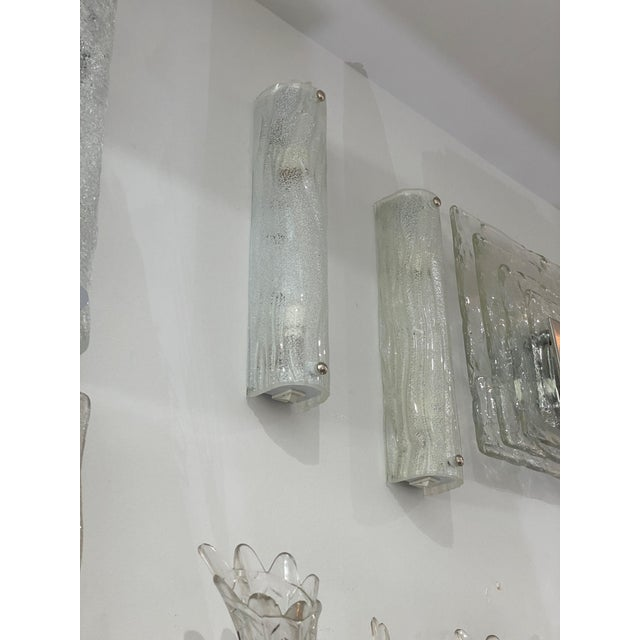 1970s Vintage Modern Ice Glass Sconces - a Pair For Sale - Image 5 of 13