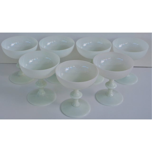 1970s 1970s Portieux Vallerysthal French Ivory Opaline Champagne Coupes - Set of 7 For Sale - Image 5 of 9