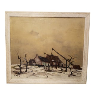 Vintage Mid-Century Henry Ghysen Belgian Oil Painting For Sale