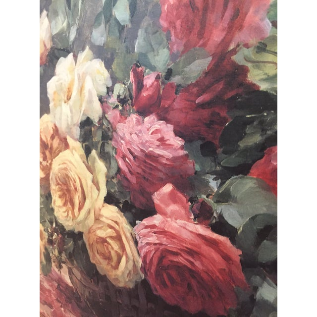 Vintage Still Life Roses in Basket Lithograph on Board - Furcy De Lavault - Image 6 of 10