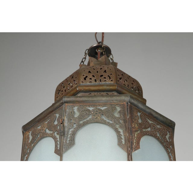 Islamic Moroccan Moorish Hanging Lantern With Milky Glass For Sale - Image 3 of 7