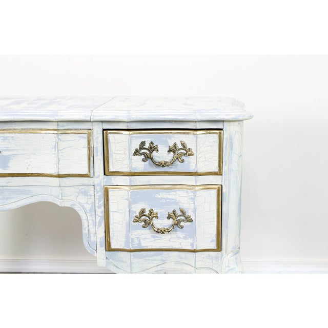 French Provincial White Shabby Chic Vanity Desk For Sale - Image 12 of 13