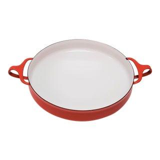 Red Mid Century Dansk Kobenstyle Medium Paella Pan For Sale