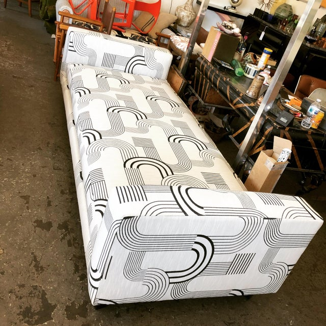 Contemporary Black & White Art Deco Style Daybed For Sale - Image 3 of 8
