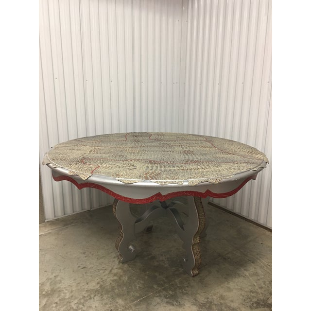 Nika K. Leather Top Dining Round Table For Sale - Image 13 of 13