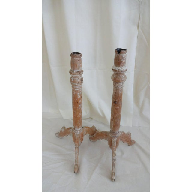 Tan 19th Century Traditional French Wooden Candlesticks - a Pair For Sale - Image 8 of 8