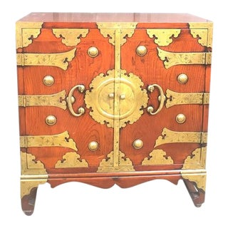 Chinoiserie Mahogany Chest/Nightstand with Brass Detail For Sale