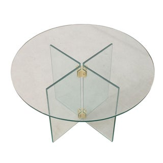 Pace Collection Small Round Glass & Brass Table