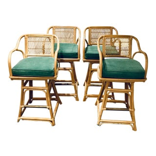 Mid Century Rattan Barstools - Set of 4 For Sale