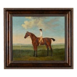 Image of Antique English Oil Painting of a Racehorse & Rider by Francis Sartorius For Sale