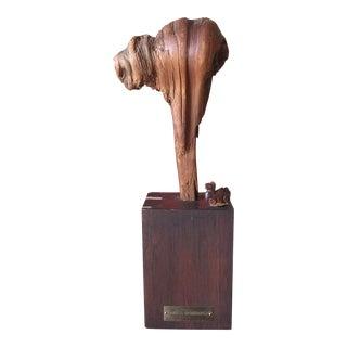 Vintage Camel Sculpture on Wooden Base For Sale