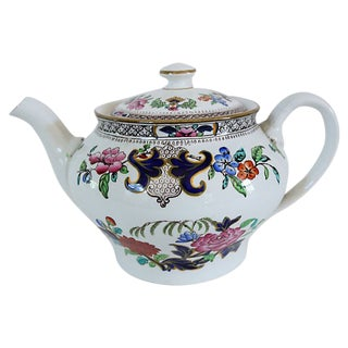 Antique Mintons Hand-Painted Floral Teapot For Sale