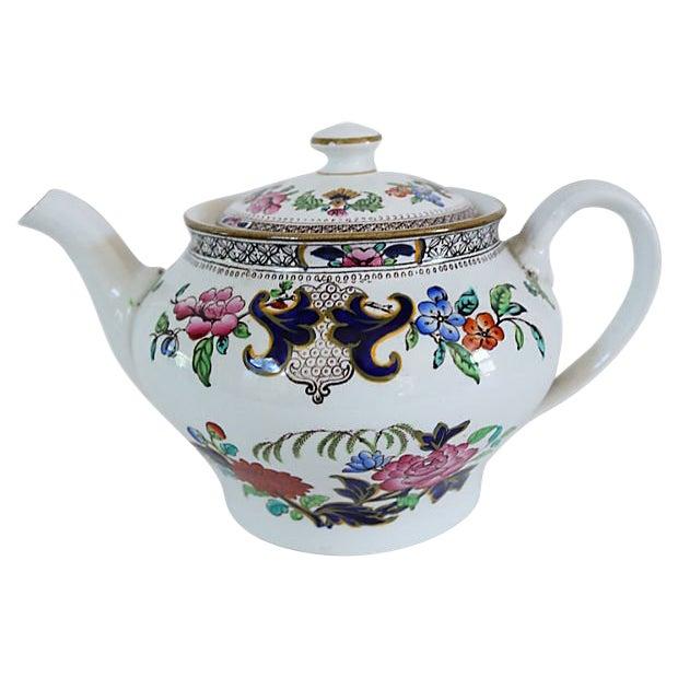 Antique Mintons Hand-Painted Floral Teapot For Sale
