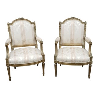 Fine Pair Antique 19th Century French Louis XVI Carved Gilt Fauteuil Armchairs For Sale
