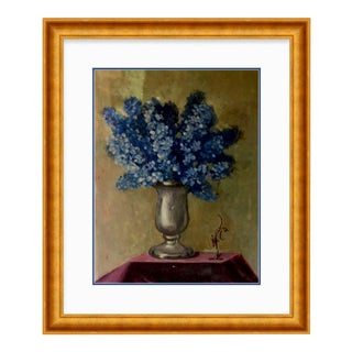 Custom Gold Frame of & Original Vintage Still Life of French Hydrangeas Oil Painting For Sale