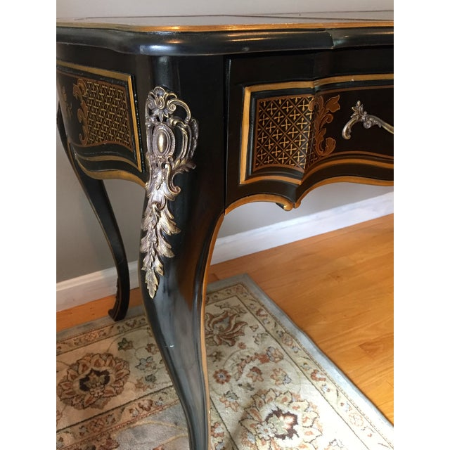 Drexel Chinoiserie Leather Writing Desk & Chair - Image 8 of 11