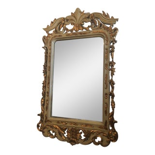 1980s Shabby Chic Green and Gold Reproduction Mirror For Sale